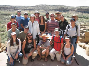 Our Tracking in the Southwest group photo, Pueblo Bonito, Chaco Canyon, 2007. / photo by Cary Odes