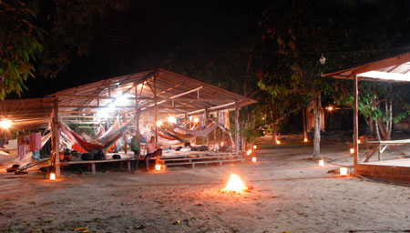 Our camp at Rio Preto da Eva lit with luminarias