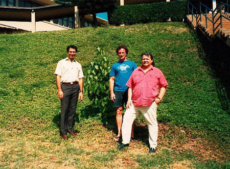 Kahele Kukea, John Stokes and Jake Swamp with Kamehameha Schools Tree of Peace, 1992.