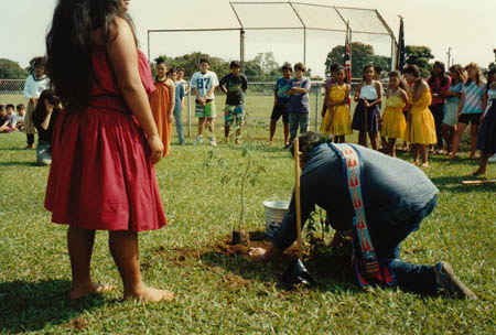 Jake Swamp planting a tree at the Keaukaha School, Hilo Big Island, 1991.