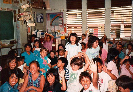 Students in the Hawaiian language immersion program, Keaukaha School 1991.