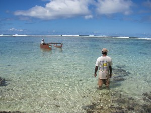 Damas Tuhei Faahu and Morgan, prepare for a morning of diving and fishing inside the reef on Huahine Iti