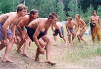 Boys stalking, the art of silent movement, at Hawkeye camp