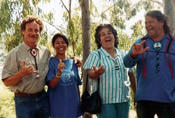 John Stokes, Nancy Latuja, Judy and Jake Swamp, Tracking the Roots of Peace, Hawai'i 1990.