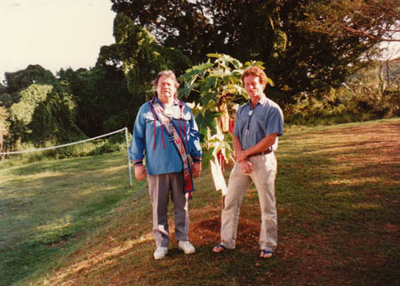 Jake Swamp and John Stokes with the kukui Tree of Peace