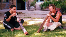 John Stokes (right) and Karl Telfer playing the didjeridu.