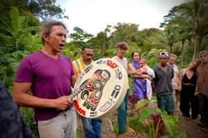 Jason Harris sings a Lakota song with Sam Ka'ai's drum